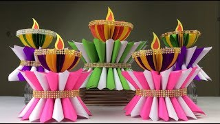 Paper Craft Lamp For Diwali |  Lamp Making With Paper | Paper Crafts For School