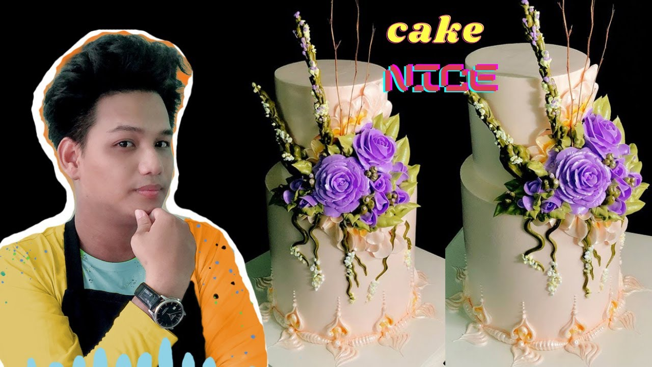 tiered cake Violet rose Southeast Asian decor – bánh sinh nhật 2 tầng hoa hồng tím đẹp lạ ( 585 )