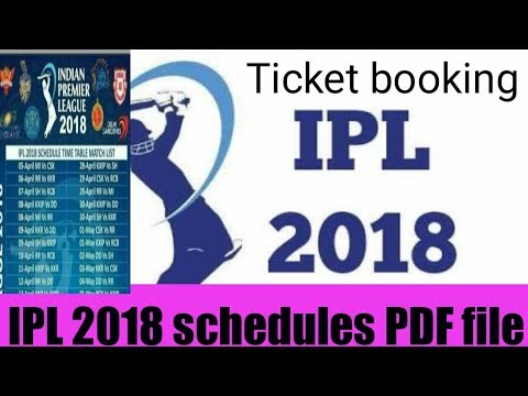 ipl 2018 schedules PDF FILE 2018 and time table team list and ticket booking