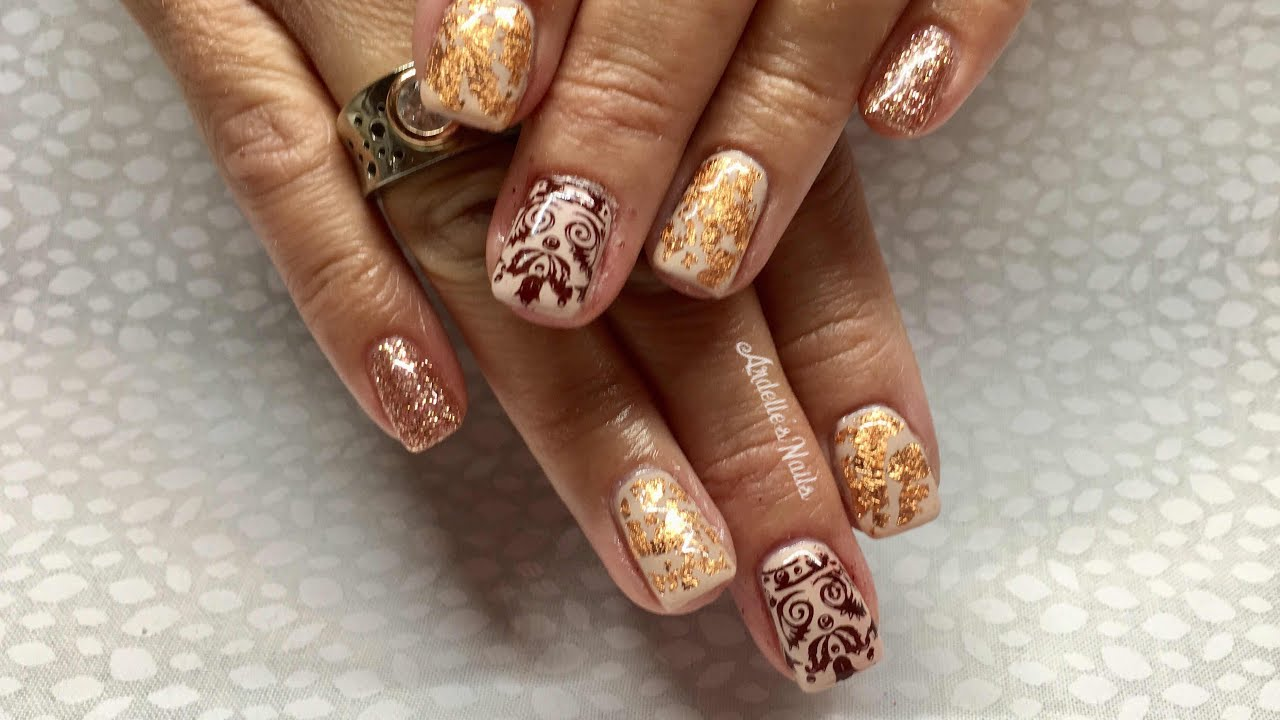 Fall Gel Nails:French Press/Fine Foil/Stamping - YouTube