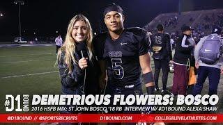 demetrious flowers 3 td game bosco 49 47 win vs centennial postgame interview w alexa shaw