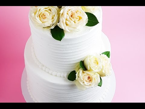 White Frosted Wedding Cake Tutorial- Rosie's Dessert Spot