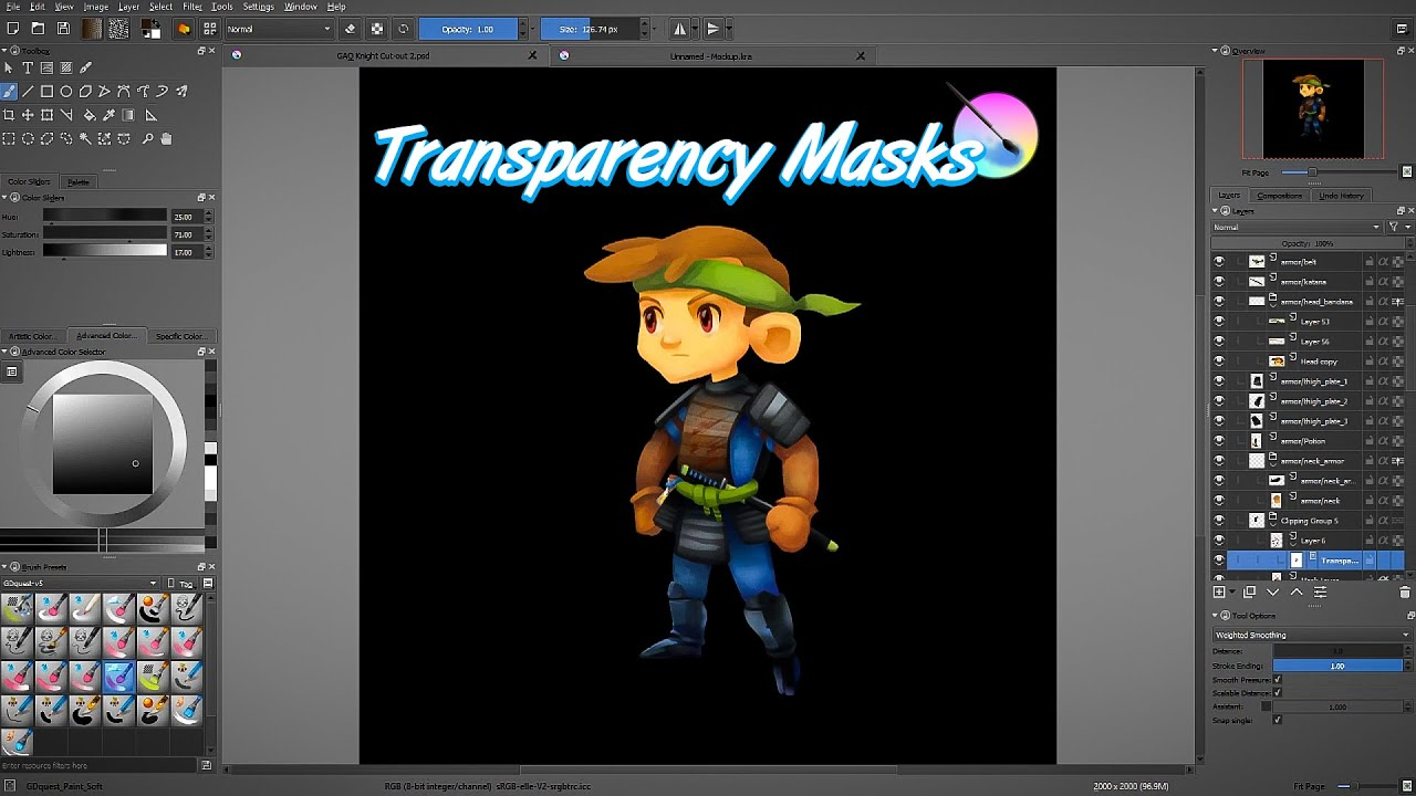 Krita tutorial: understanding transparency masks · GDQuest