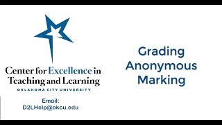 Grading Anonymous Marking