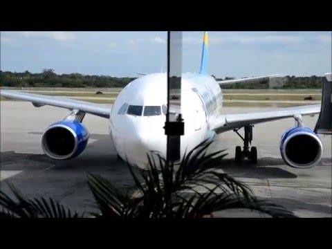 Thomas Cook Airbus A330 takeoff from Varadero airport at Cuba