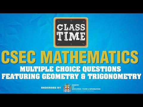 CSEC Mathematics - Multiple Choice Questions featuring Geometry & Trigonometry - June 22 2021