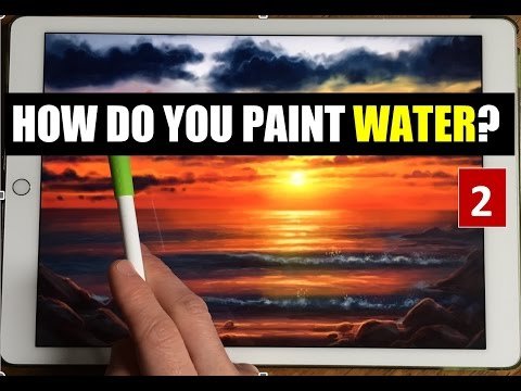HOW TO PAINT WATER 2. SEA SUNSET, Apple Pencil Drawing Tutorial