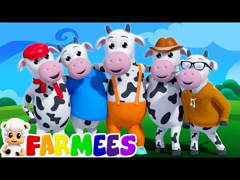 five little cows | nursery rhymes farmees | 3d rhymes | kids