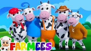 five little cows | nursery rhymes | 3d rhymes | kids songs | farm song by Farmees thumbnail