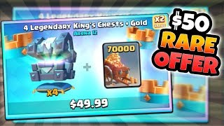 RAREST $50 NEW CHEST SHOP OFFER IN CLASH ROYALE! OPENING NEW x4 KINGS CHEST OFFER!