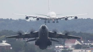 Airbus A380 VISUAL Approach + Airbus A400 Departure (HD) thumbnail