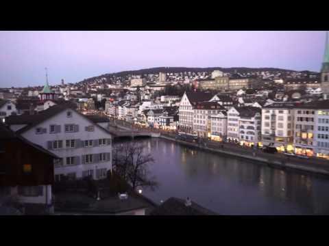View of Zurich on Lindenhof Hill