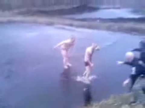 Russian men jumping to lake auuu..