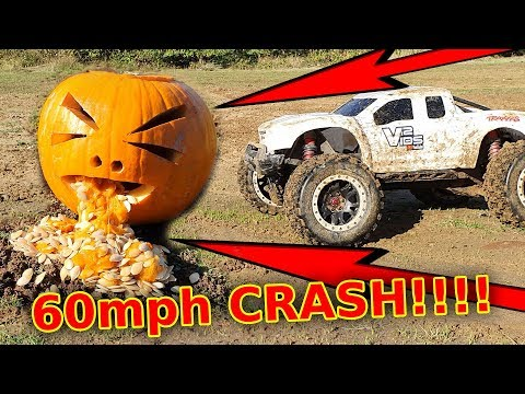 Halloween Pumpkin CRASH - $1200 RC Car FULL SPEED Into Pumpkin WHO WILL WIN???