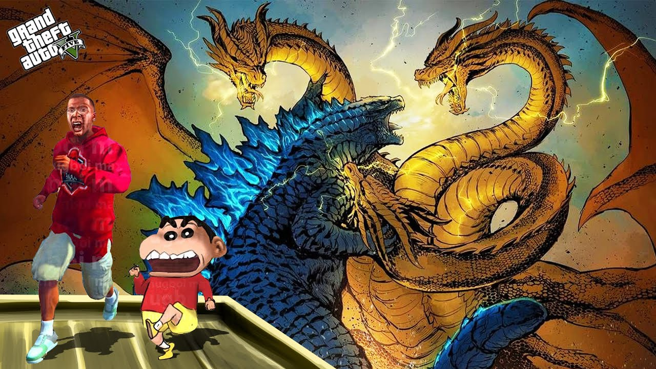 KING GHIDORAH VS KING KONG in GTA 5   THUGBOI MAX