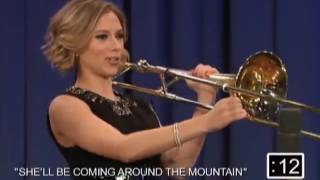 Scarlett Johansson   playing the violin   Jimmy Fallon