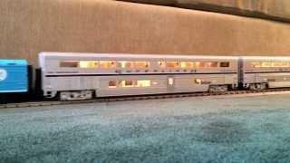 MTH Gevo pulling K-Line Superliners