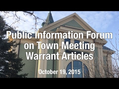 Public Information Forum on Town Meeting Warrant Articles - October 2015
