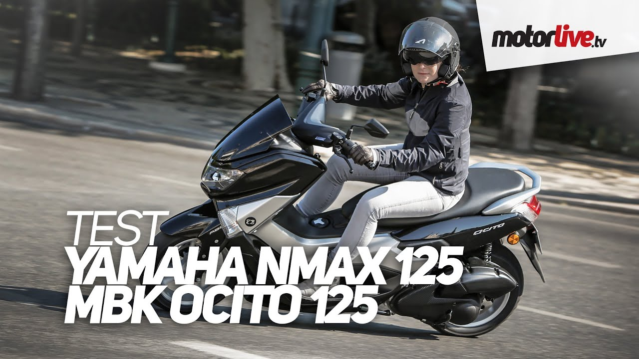 test yamaha nmax 125 mbk ocito 125 youtube. Black Bedroom Furniture Sets. Home Design Ideas