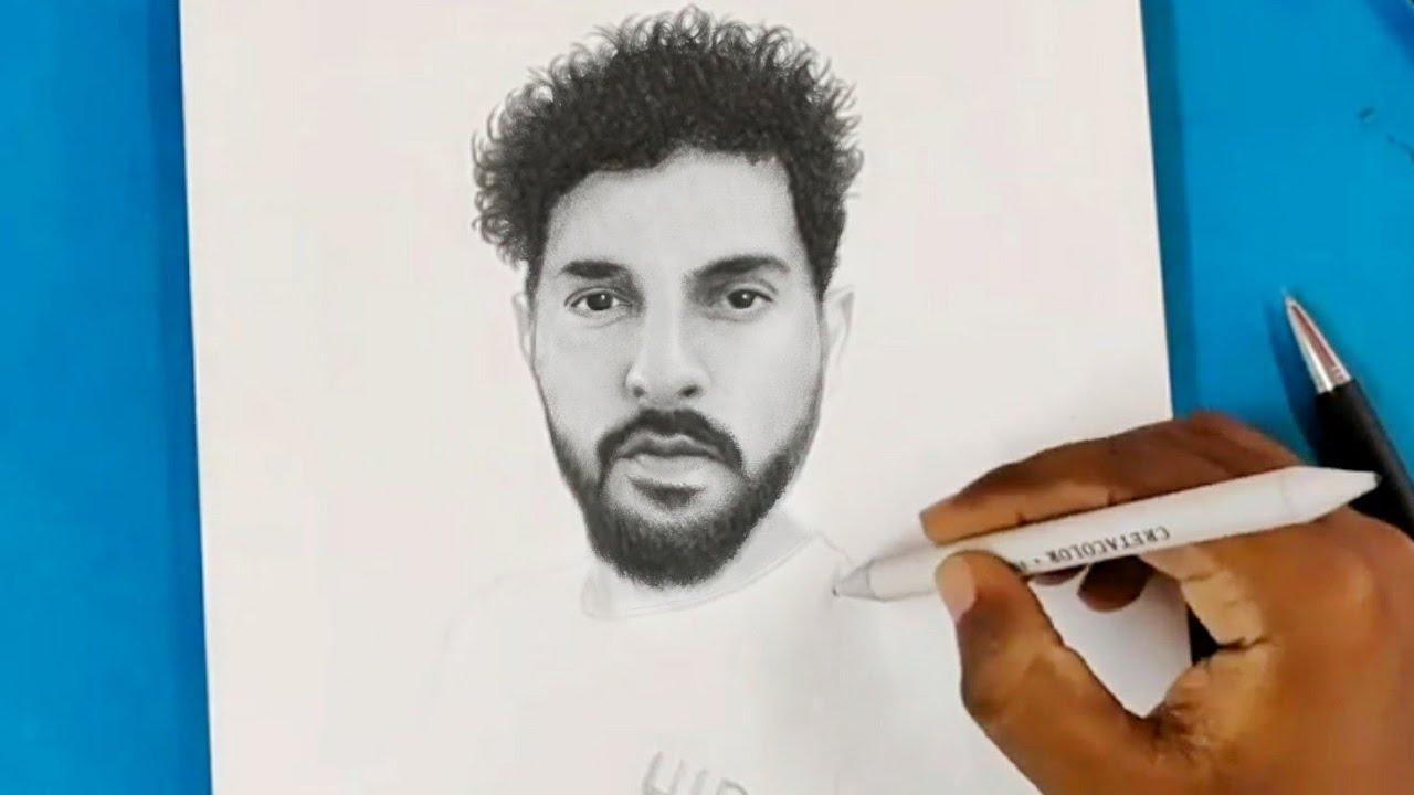 Pencil drawing of yuvraj singh