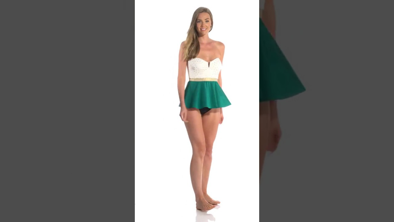 a3d7c324ae4f3 Eco Swim Tropicana Dot Bandeau Tankini Top | SwimOutlet.com - YouTube