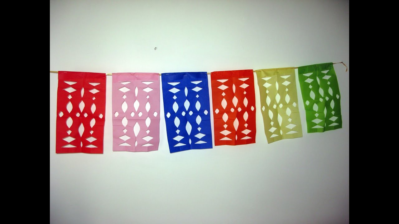 Guirnalda de banderines papel picado decoraci n para for Adornos colgar pared