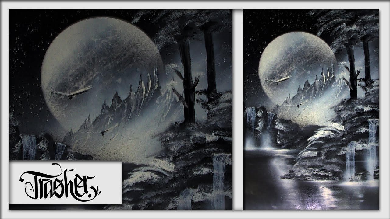 Black and white spray paint nature by trasher youtube for White and black paintings