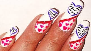 Valentine's Day Nail Art Designs With Zebra Print