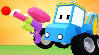 Tiny Trucks - Candy crush - Kids Animation with Street Vehicles Bulldozer, Excavator & Crane