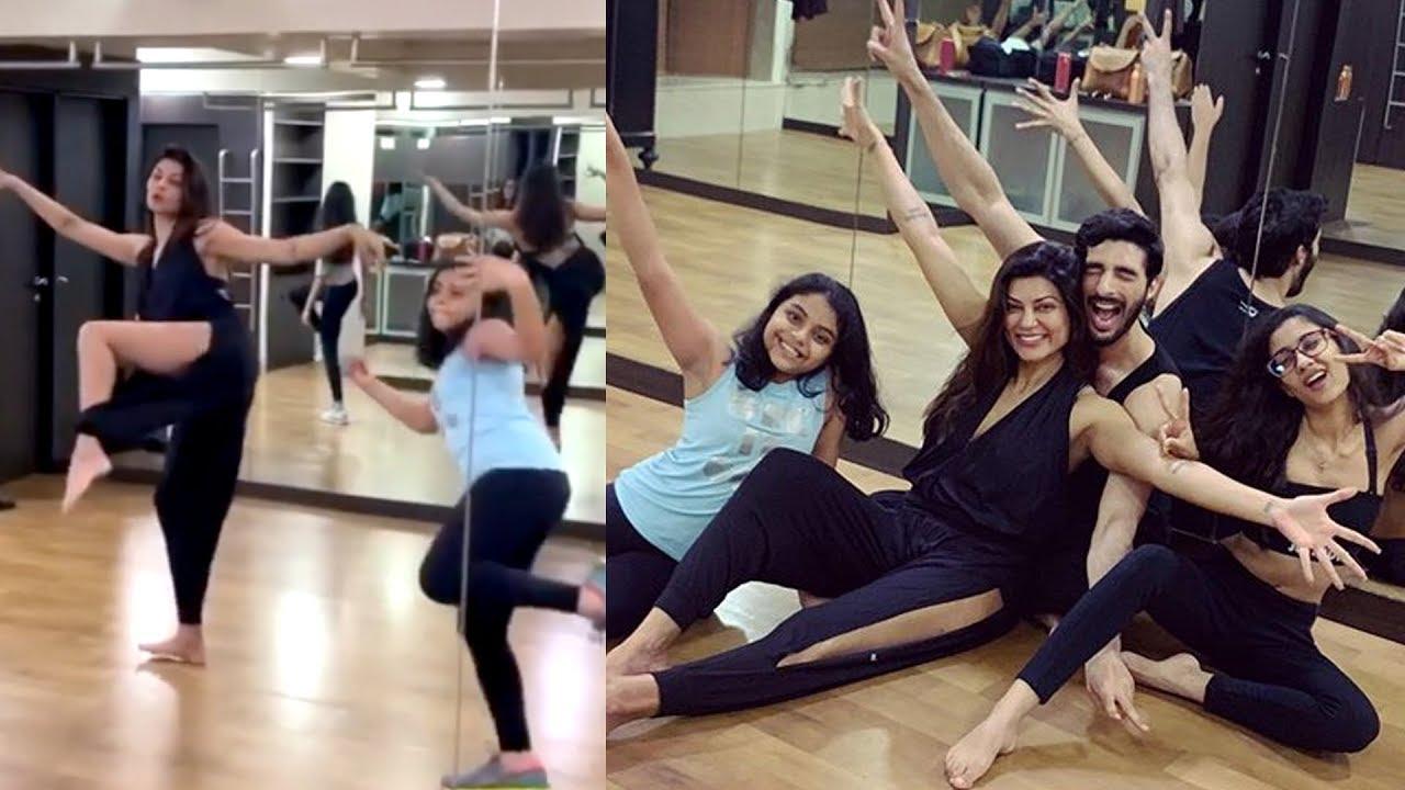 Sushmita Sen H0T Dance With Her Daughters And Boyfriend Rohman Shawl    Workout VIDEOS - YouTube
