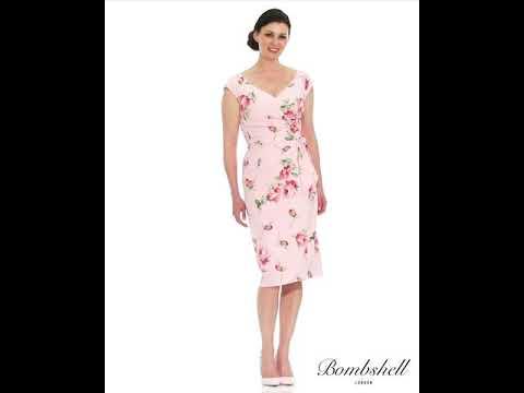 P Bs001 Kensington Rose Pink Cap Sleeves Wedding Guest Dress
