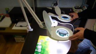 Лупа настольная малая 3Х +доп.12Х с подсветкой 60 LED, белая REXANT