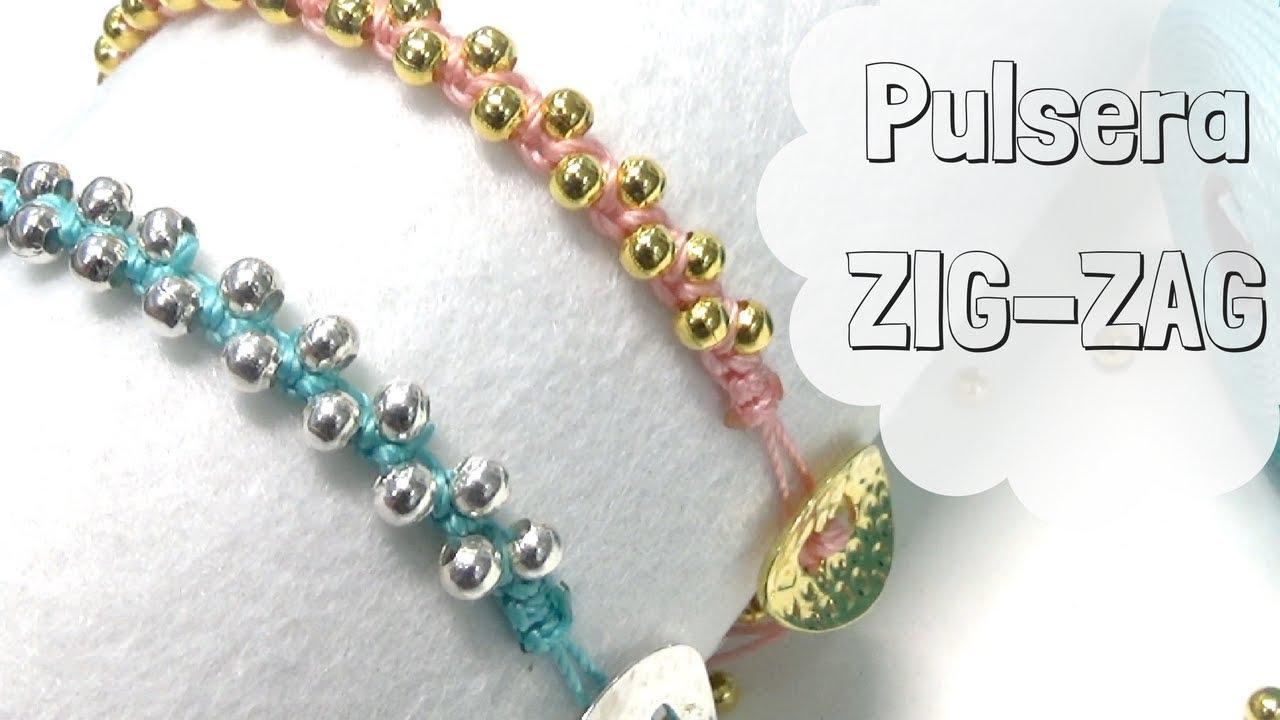 597fe6281d6d Como hacer una Pulsera ZigZag con nudo cuadrado, cuentas y abalorios DIY