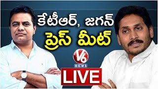 KTR and YS Jagan Mohan Reddy Joint Press meet Live on Federal Front | V6 News