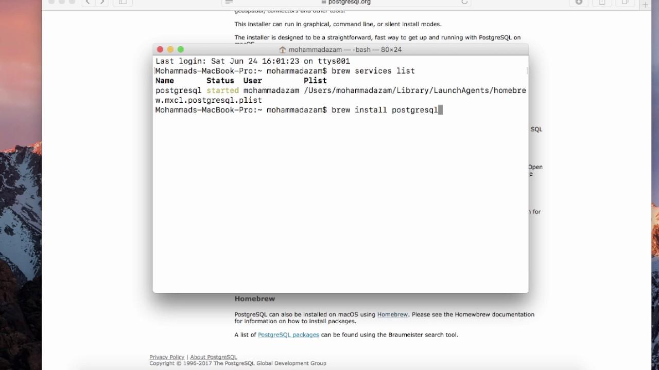Installing and Setting up PostgreSQL Using Brew