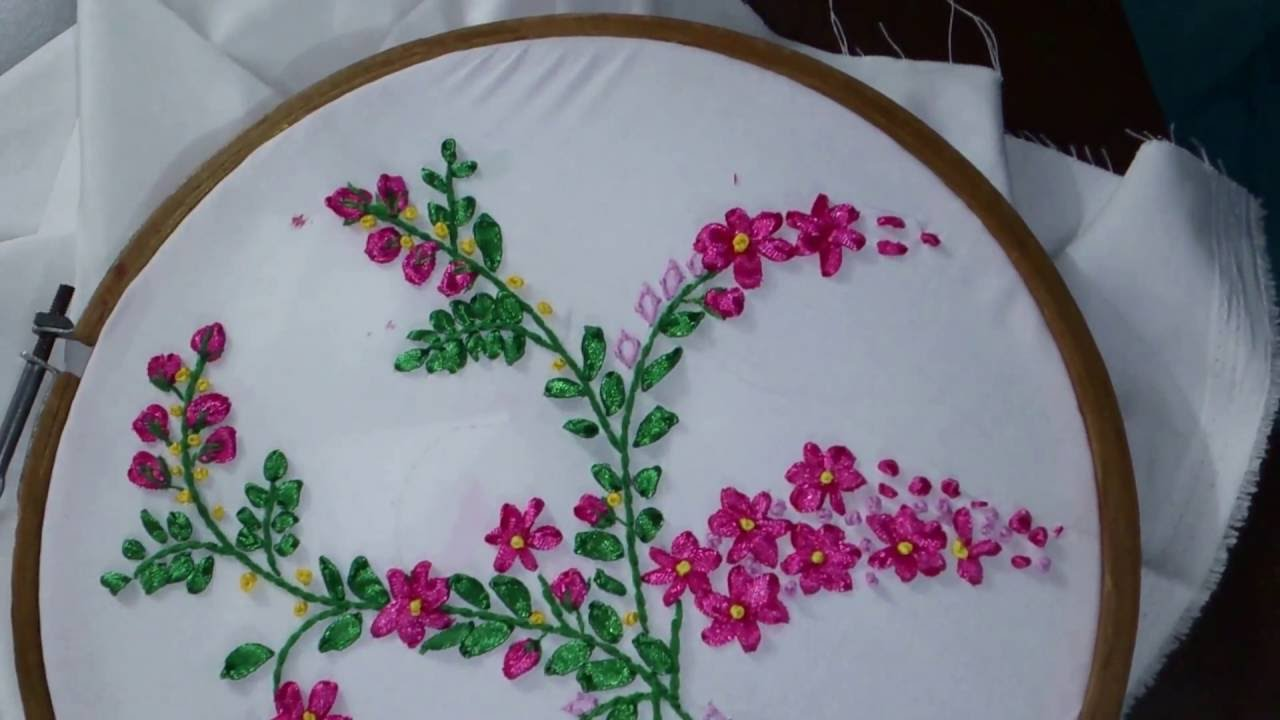 Ribbon work bed sheets designs - Ribbon Embroidery Tutorial