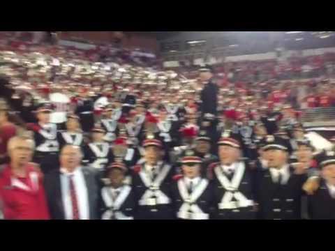 """Panorama of Buckeyes' """"Carmen Ohio"""" celebration at Oklahoma"""