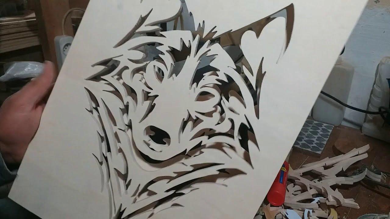 Wolf Glow In The Dark Epoxy - KIl Testerede Kurt Tablo Kesimi - Karanlıkta Parlayan Epoksi