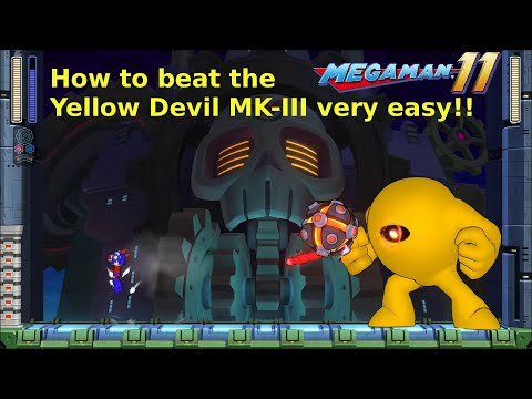 Mega Man 11, Superhero Mode! How to beat the Yellow Devil MK-III very easy! No damage!