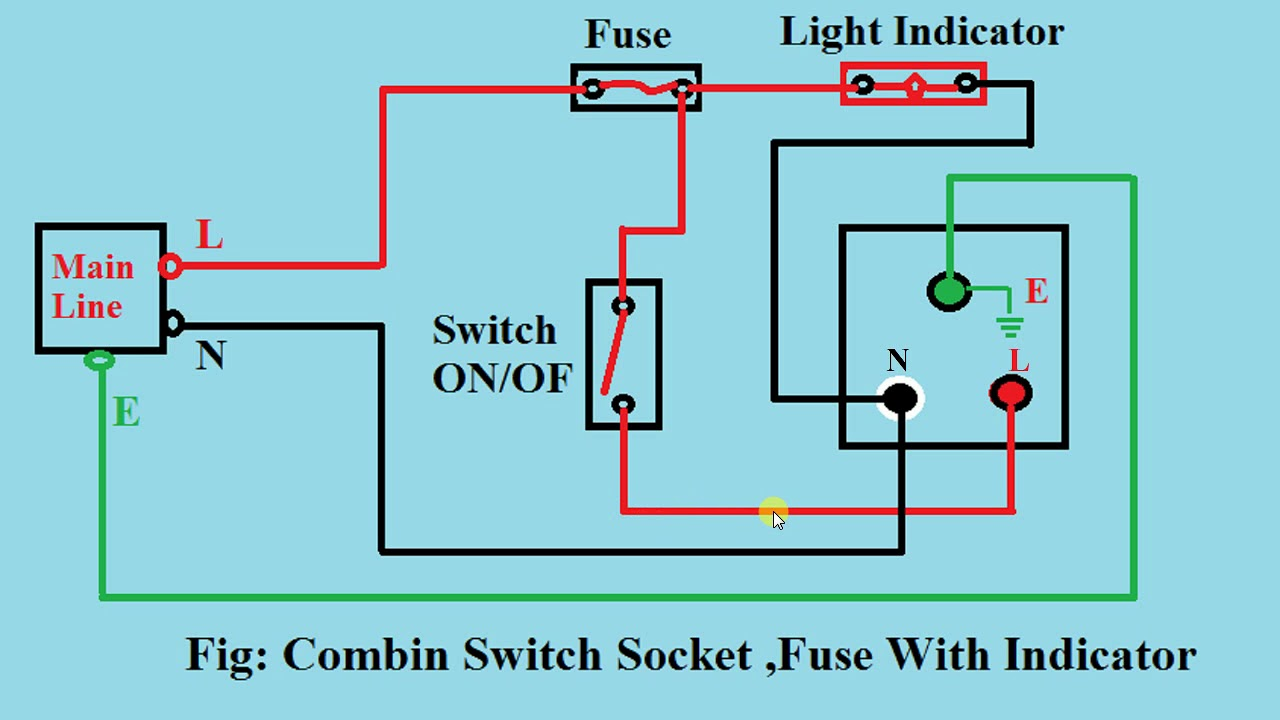 Switch Socket Diagram Wiring Schematics Zombie Light How To Connection And Cercuit Drow Combint Electrical Plug