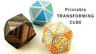 【フリーデザイン】折り紙変身キューブ Printable Origami Transforming Cubes