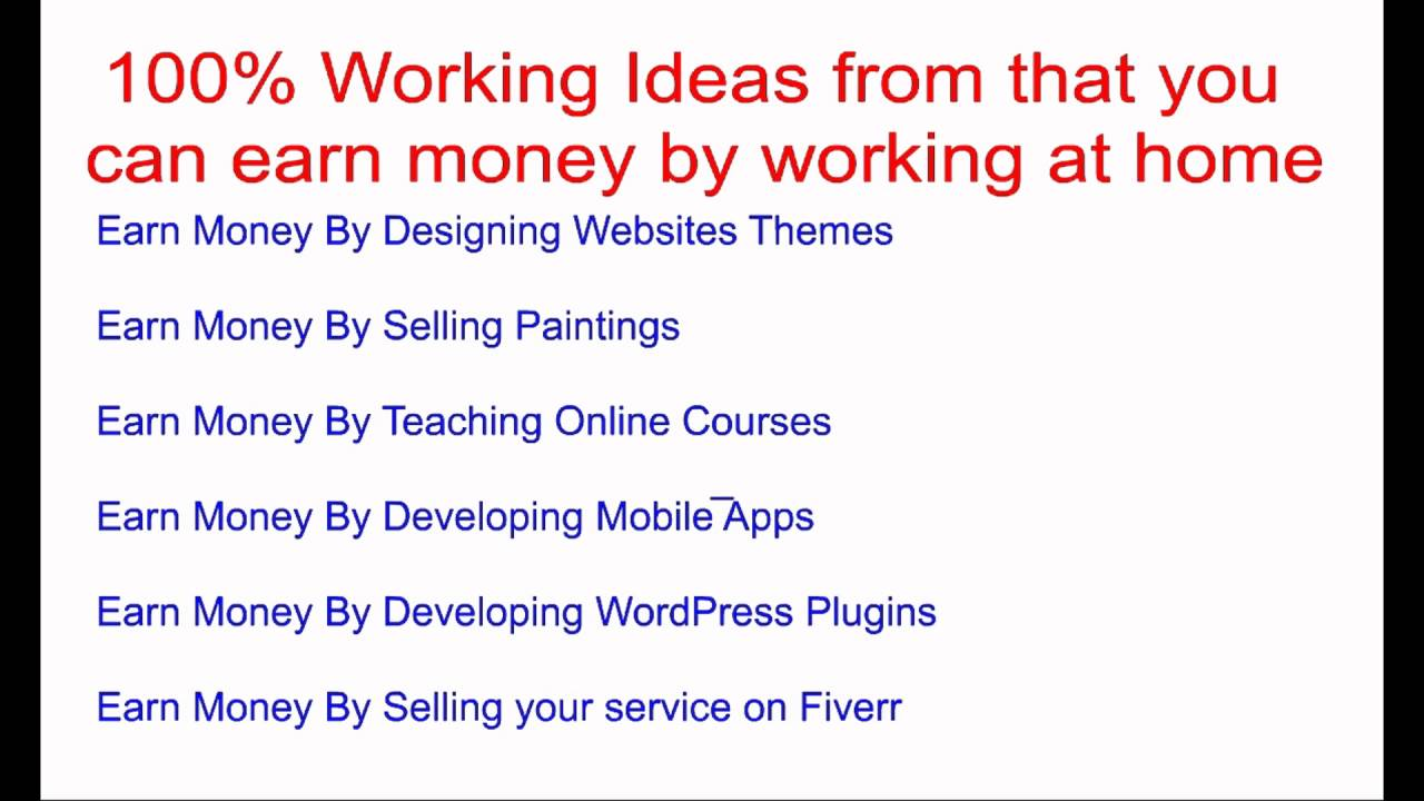 Top Twenty 100% Working Ideas to Earn Money by Working at Home ...