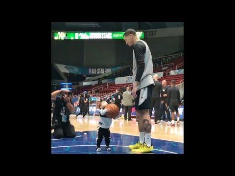 Jayson Tatum and his son Jayson Tatum Jr. aka Deuce hit the floor together in Charlotte!