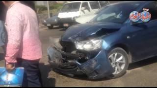 شلل مروري بشارع صلاح سالم بسبب تصادم 6 سيارات