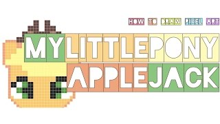 how to draw applejack my little pony easy | small and big version | mlp cute | pixel art doodle