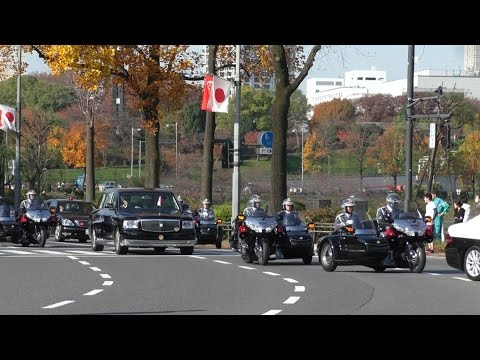 国賓 シンガポール大統領 警護車列 President of Singapore visited Imperial Palace Tokyo 2016