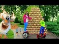 Download Den and Mom pretend play with Colored Cups! Funny Buba Ride on Segway for kids