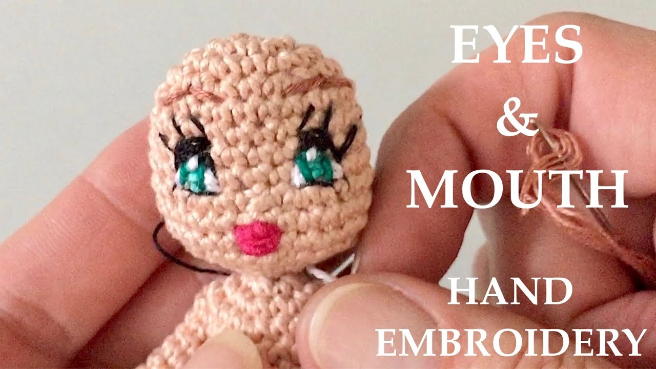 How to make eyes, embroider amigurumi doll's eyes. - YouTube | 720x1280