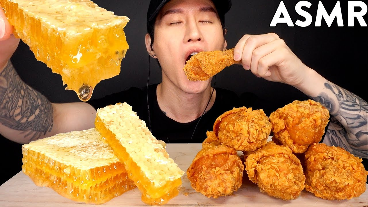 Asmr Honeycomb Popeyes Fried Chicken Mukbang No Talking Eating Sounds Zach Choi Asmr