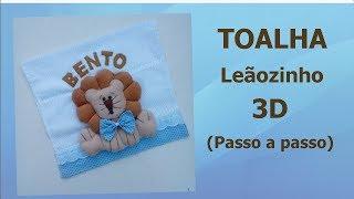 Como fazer o leãozinho 3d na toalhinha de bebê